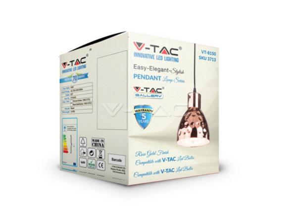 VTAC SKU3713 PENDANT LIGHT HOLDER-COPPER SUSPENSION CUIVREE V-TAC SKU 3713
