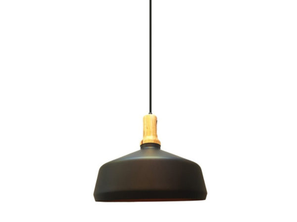 VTAC SKU 3766 SUSPENSION BOIS ET METAL NOIR Modern Black Wooden Top Pendant Ф350 WOODEN TOP IRON PENDANT LIGHT-WHITE V-TAC SKU3766
