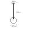 VTAC SKU3836 SUSPENSION CERCLE NOIR MATT BLACK PENDANT LIGHT WITH BLACK CANOPY V-TAC SKU 3836